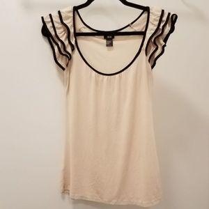 H & M Cream/Tan Ruffle Sleeve Shirt